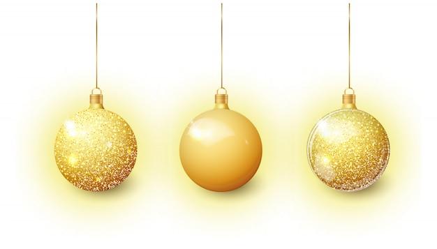 透明で分離されたゴールドのクリスマスツリーグッズ