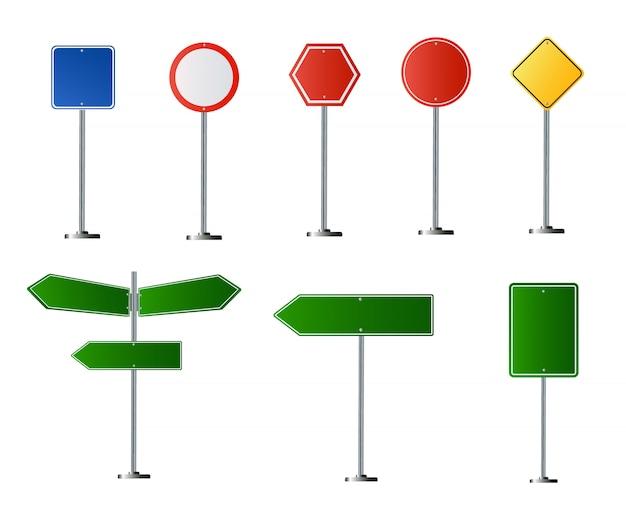 透明な背景に分離された道路標識のセット。