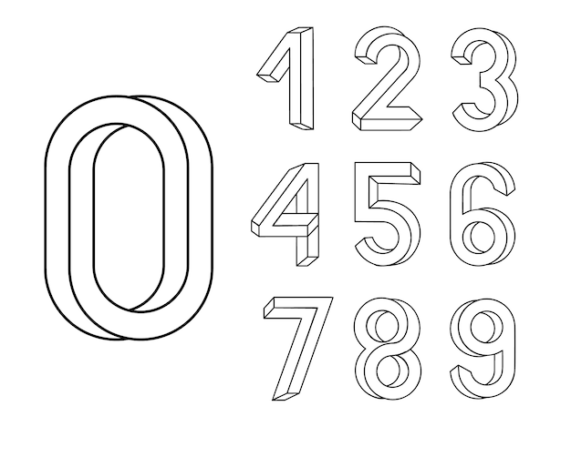 不可能な形状のフォント。等角図に基づいて作成された数字のセット。