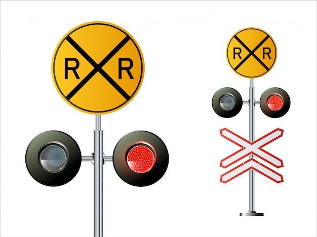 セマフォ信号トラフィック。列車が点灯します。