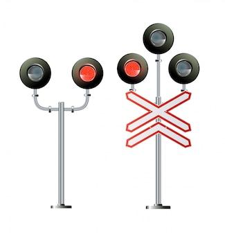 Семафор сигнала трафика. иллюстрация фары поезда