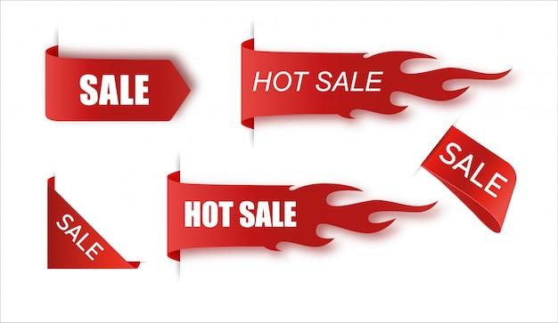 平らな線形プロモーション火バナー、値札、熱い販売、オファー、価格。イラストセット