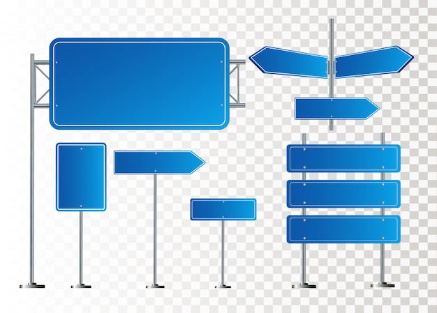 Дорожные синие дорожные знаки установлены. пустая доска с местом для текста. макет. изолированный информационный знак. направление. иллюстрация