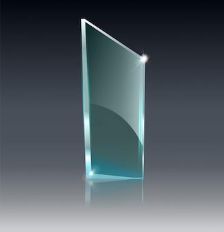 Стеклянный прозрачный баннер. стеклянные пластины с местом для надписей, изолированных на прозрачном фоне.