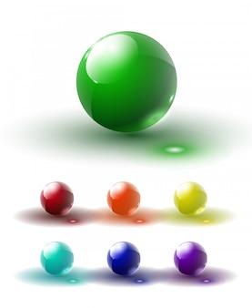 Набор разноцветных стеклянных кнопок с тенями