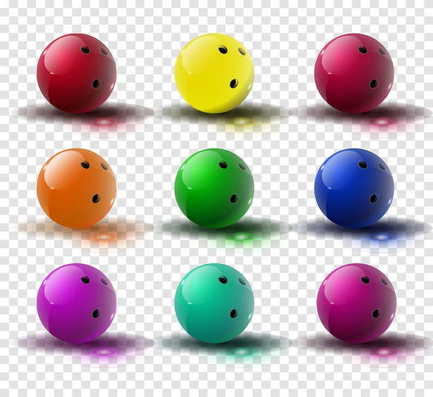 透明で分離されたボウリングのボール