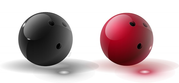 Красный и многоцветный шар для боулинга, изолированные на прозрачный. векторная иллюстрация