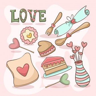 愛のお菓子イラスト