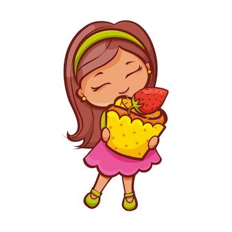 イチゴカップケーキの女の子