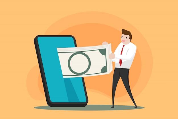 男は携帯電話からお金をもらいました。現代のスマートフォンとのオンラインビジネス。テクノロジーデバイスとの世界的な接続。人々は無線ネットワークで互いに連絡します。コミュニケーションの概念。