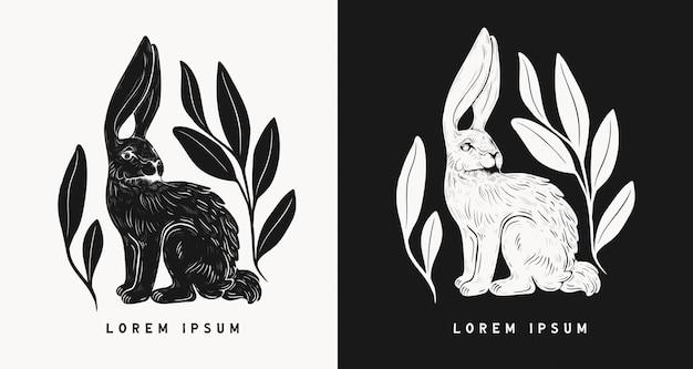 Пасхальный кролик, изолированных в стиле линогравюры. старинный штамп дизайн кролика для печати. используйте для своих творческих проектов графического дизайна, литографии, открытки, приглашения, татуировки.