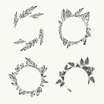 Рамка листьев листвы растительности, элемент графического дизайна, изолированный круг, флористическая ботаническая граница. тропическая композиция. свадебное приглашение, шаблон плаката, процветает.