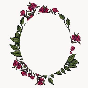 Цветочная рамка. состав листвы весны, расположение круга венка цветка.