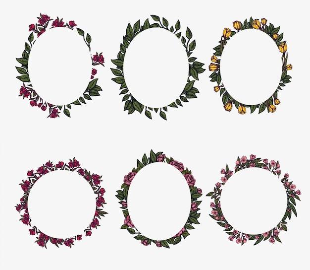 Цветочные рамки. состав листвы весны, расположение круга венка цветка. элемент для графического дизайна. шаблон приглашения