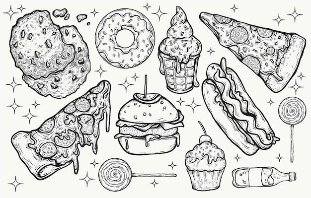 ジャンクフードやお菓子のお菓子は、グラフィックデザインプロジェクトの手描きの孤立したクリップアート要素を描画します。おいしい食べ物のアイコンとキャンディー、かわいい色、明るい甘いおやつを示しました。ピザバーガー。