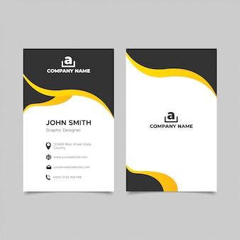 Элегантность черно-желтый дизайн визитной карточки