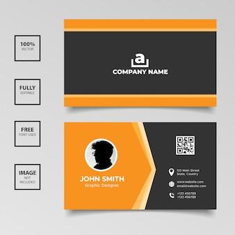 写真と企業の黒オレンジ名刺テンプレート