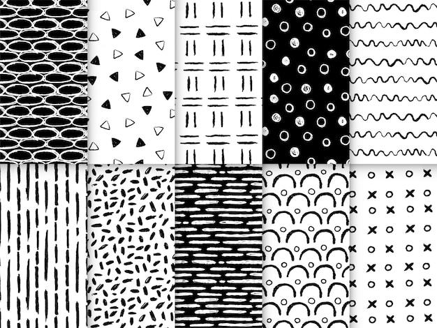 手描きの図形ラインのシームレスなパターンコレクション