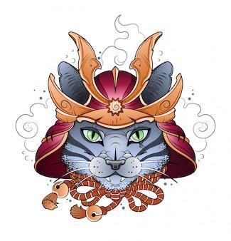 戦闘ヘルメットのサムライ猫