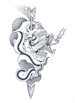 Рисунок змеи и человеческого черепа