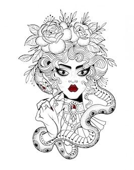 Татуировка красивой девушки с большой змеей