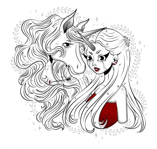 森の中のユニコーンをなでる森の妖精