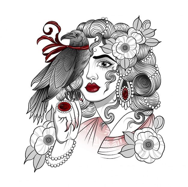 自家製カラスと美しい女性バルキリー