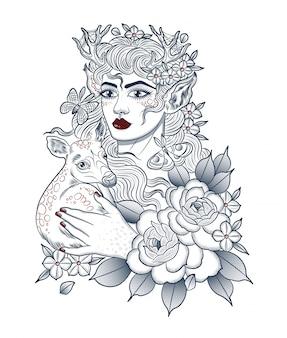 Лесная женщина с оленем на руках