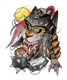 Тигр в шлеме самурая и оружие