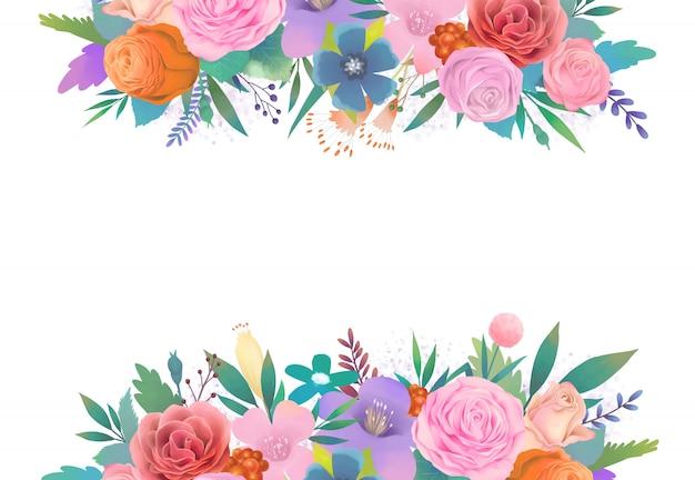 色とりどりの花の水彩イラスト