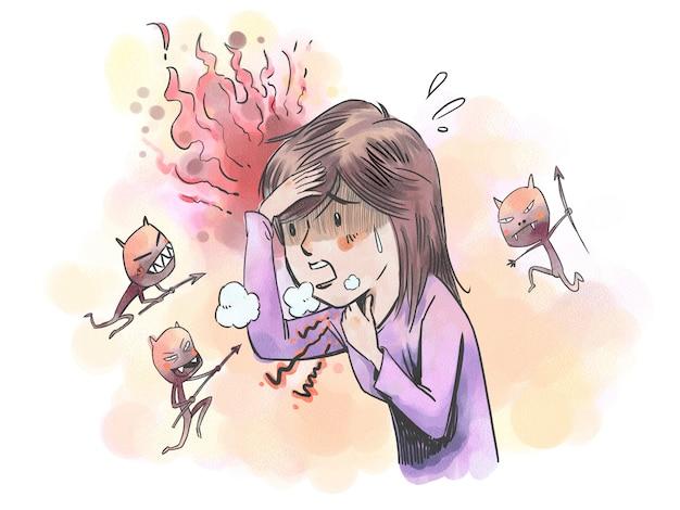 細菌の侵入により発熱、のどの痛み、息切れに苦しむ女性。