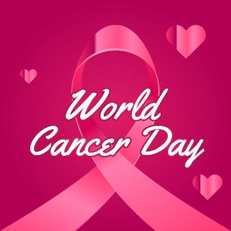 Глянцевый всемирный день рака ленты дизайн фона