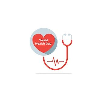Шаблон логотипа день здоровья с сердечным ритмом любви