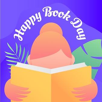 Счастливый день книги фон с женщиной читать иллюстрации