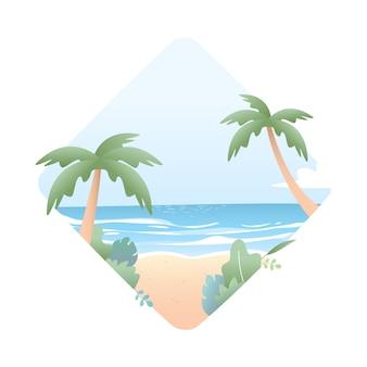 Красивое лето на пляже иллюстрации