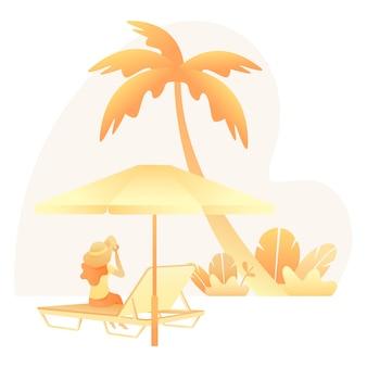 Летняя иллюстрация с женщиной, сидящей на пляже