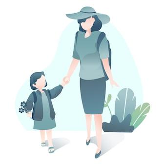 Иллюстрация путешествия с матерью и дочерью вместе ходить в шляпе и рюкзак