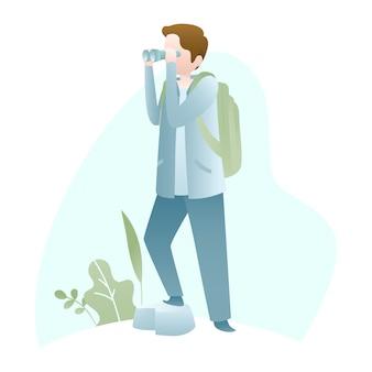 Иллюстрация путешествия с молодым человеком, держащим бинокль