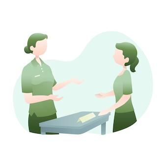 Иллюстрация обслуживания клиентов с двумя женщинами, говорить вместе
