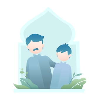 父と息子のキャラクターとラマダンのイラスト