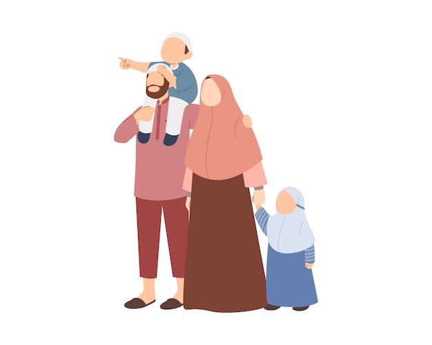 Счастливый мусульманский семейный характер с отцом, матерью, сыном и дочерью