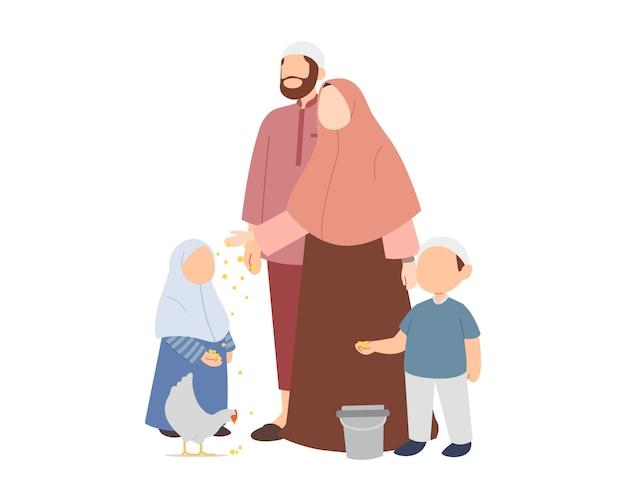 Счастливая мусульманская семья, кормящая курицу
