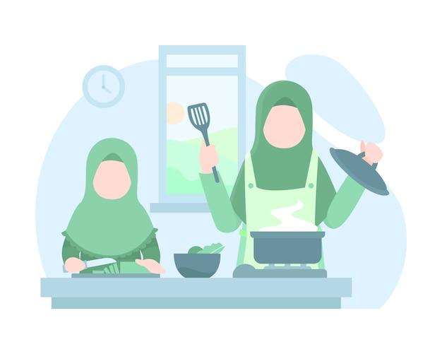 Мать и дочь готовят вместе на кухне