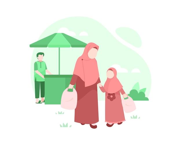 Иллюстрация покупок матери и дочери