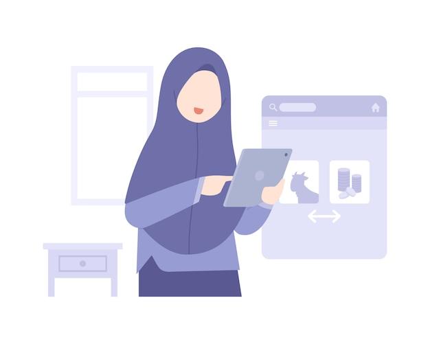 Ид аль-адха фон с мусульманской женщиной покупает еду онлайн