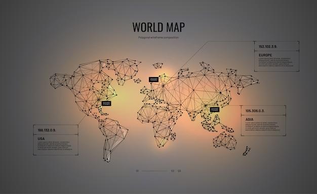多角形のワイヤフレームスタイルの世界地図