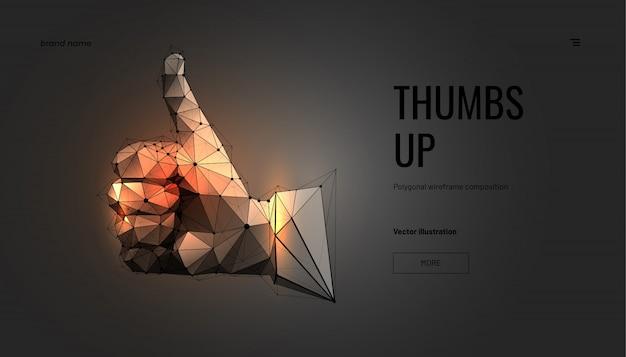 Золотая рука, большой палец вверх. каркас с геометрическим многоугольником