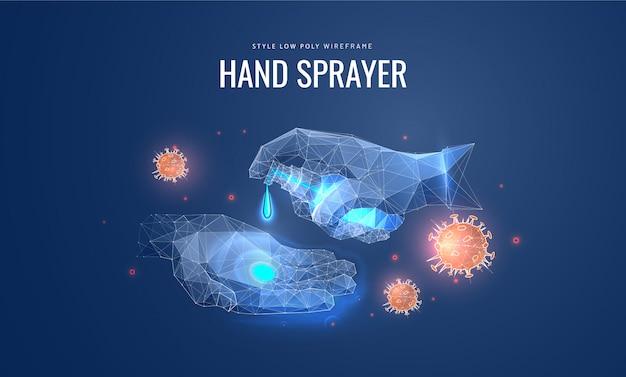 Дезинфицирующее средство распыляет на руки. концепция дезинфекции, профилактики вирусов.