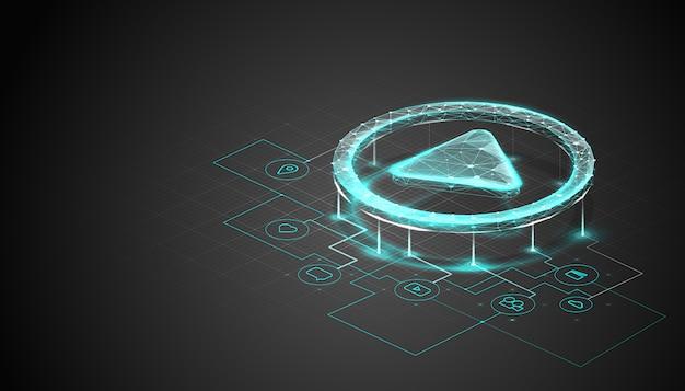 多角形のワイヤフレームスタイルの等尺性再生ボタン