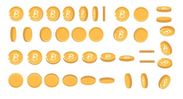 アニメーション用にさまざまな角度でビットコインゴールドコイン。